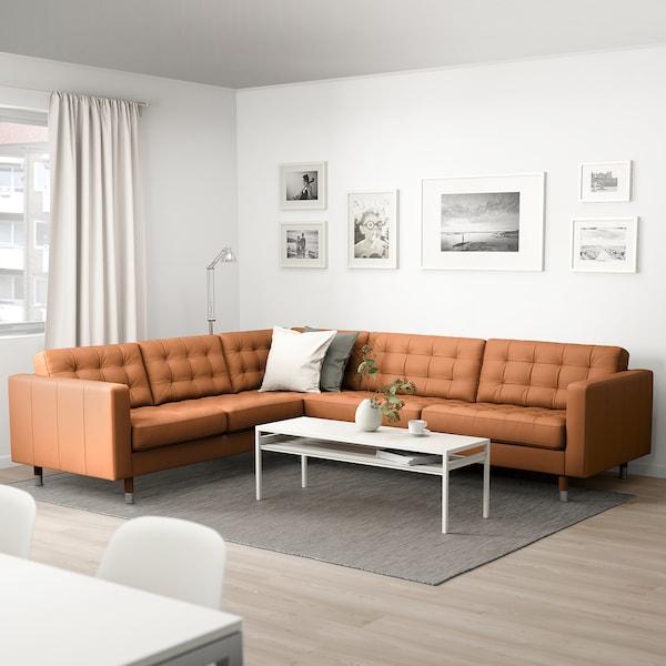 LANDSKRONA Canapé d'angle, 5 places, Grann/Bomstad brun doré/métal