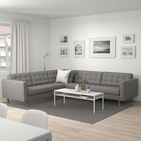 LANDSKRONA Canapé d'angle, 5 places, Grann/Bomstad gris-vert/métal