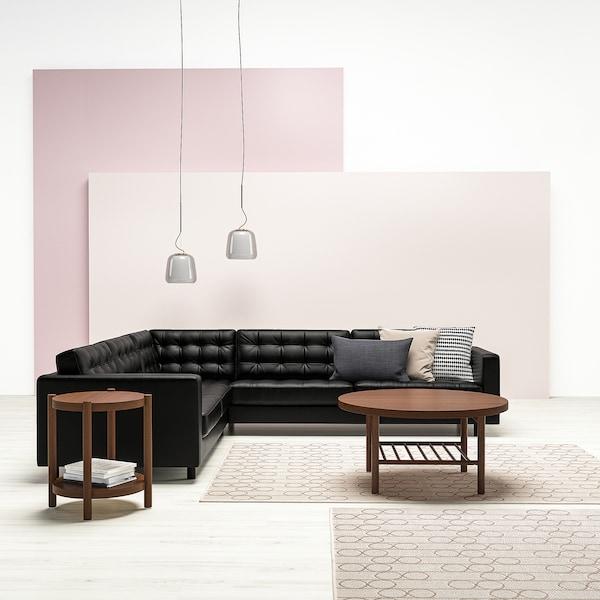 LANDSKRONA Canapé d'angle, 5 places, Grann/Bomstad noir/métal