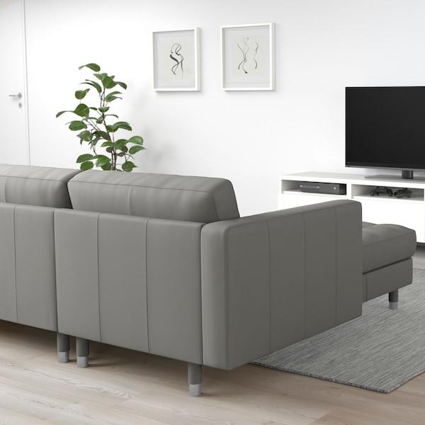 LANDSKRONA Canapé d'angle, 6 places, avec méridienne/Grann/Bomstad gris-vert/métal