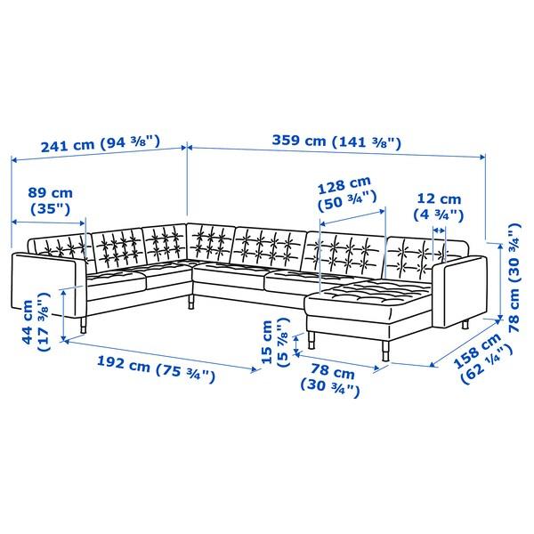 LANDSKRONA Canapé d'angle, 6 places, avec méridienne/Grann/Bomstad noir/métal