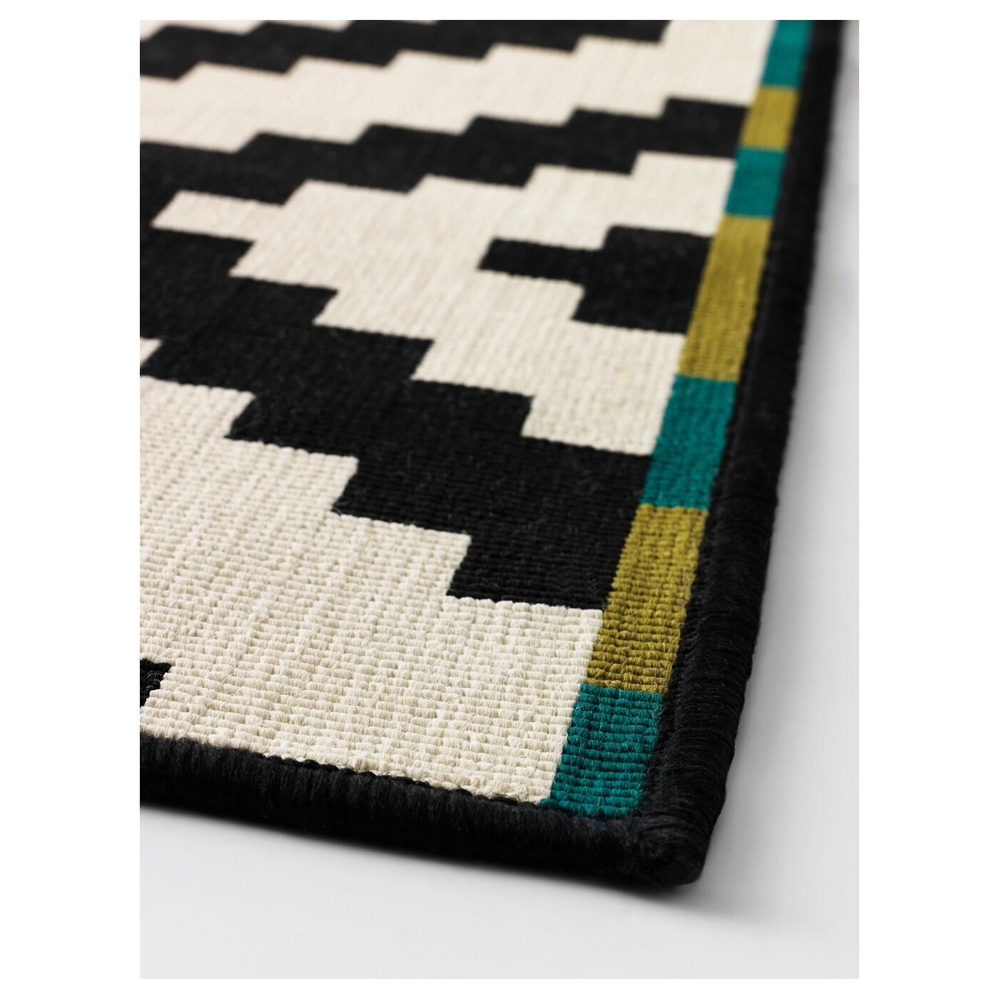 lappljung ruta tapis poils ras blanc noir 200x200 cm ikea. Black Bedroom Furniture Sets. Home Design Ideas