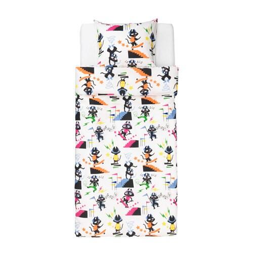 lattjo housse de couette et taie chat multicolore 150x200 50x60 cm ikea. Black Bedroom Furniture Sets. Home Design Ideas