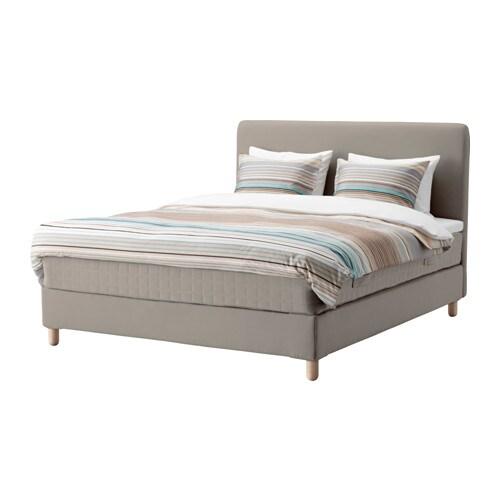 lauvik lit sommier tapissier hamarvik ferme beige fonc. Black Bedroom Furniture Sets. Home Design Ideas