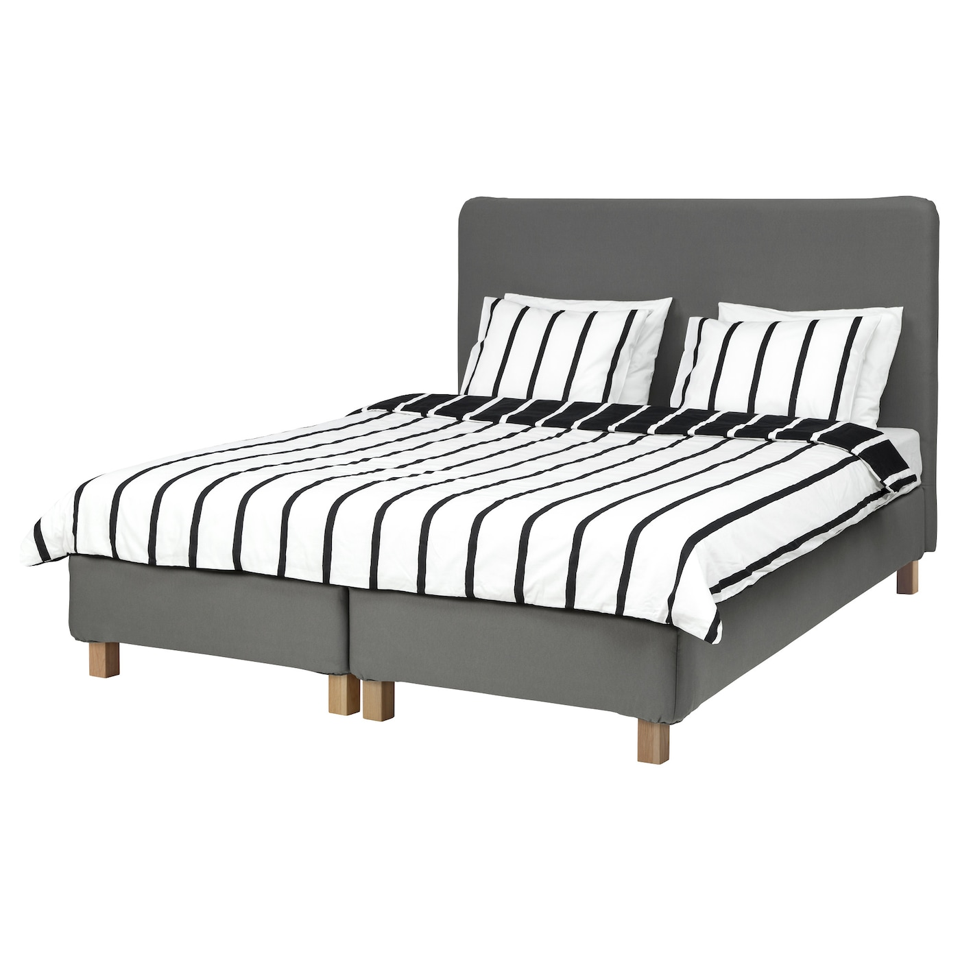 lauvik lit sommier tapissier hafslo ferme gris fonc 160 x 200 cm ikea. Black Bedroom Furniture Sets. Home Design Ideas
