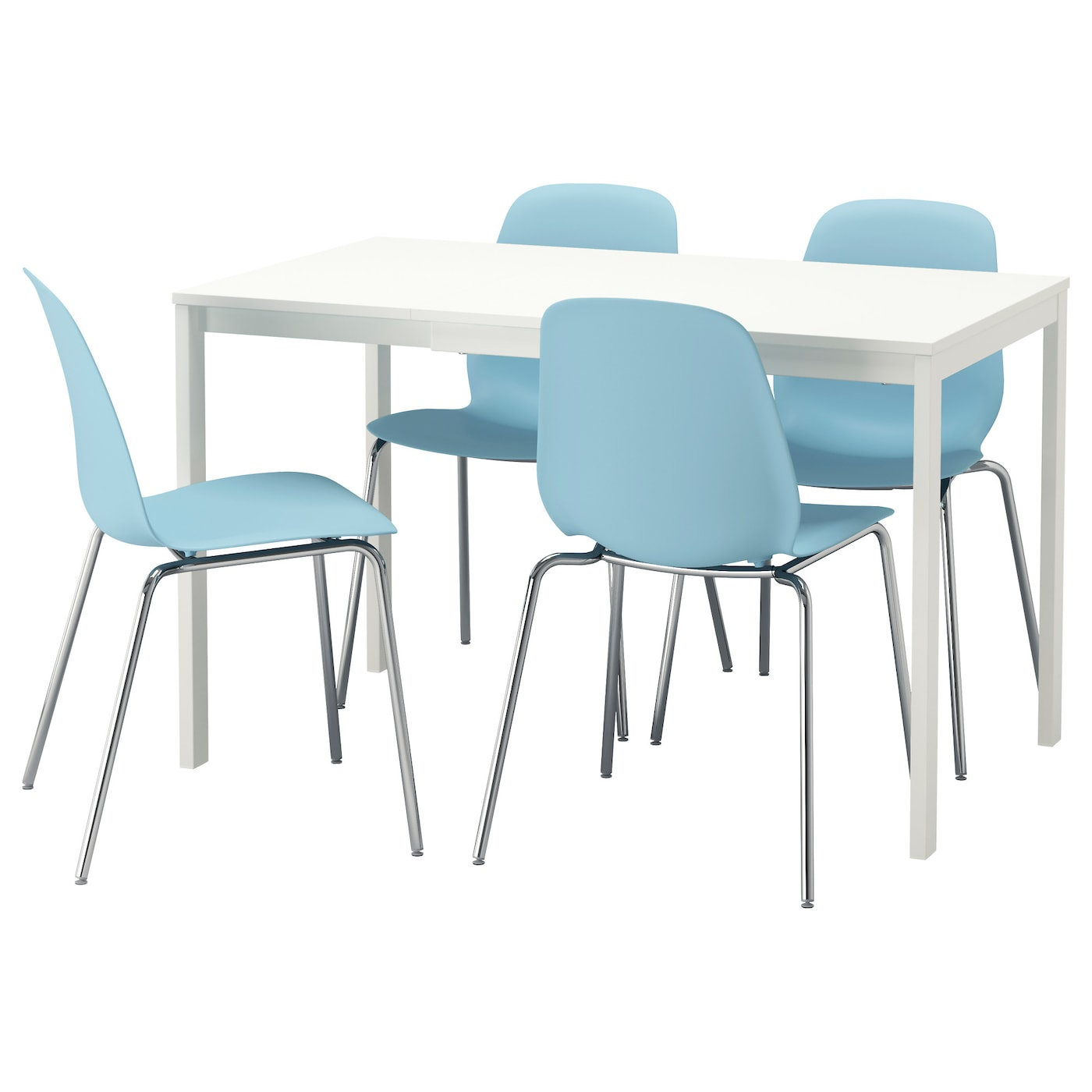 leifarne vangsta table et 4 chaises blanc bleu clair 120 180 cm ikea. Black Bedroom Furniture Sets. Home Design Ideas