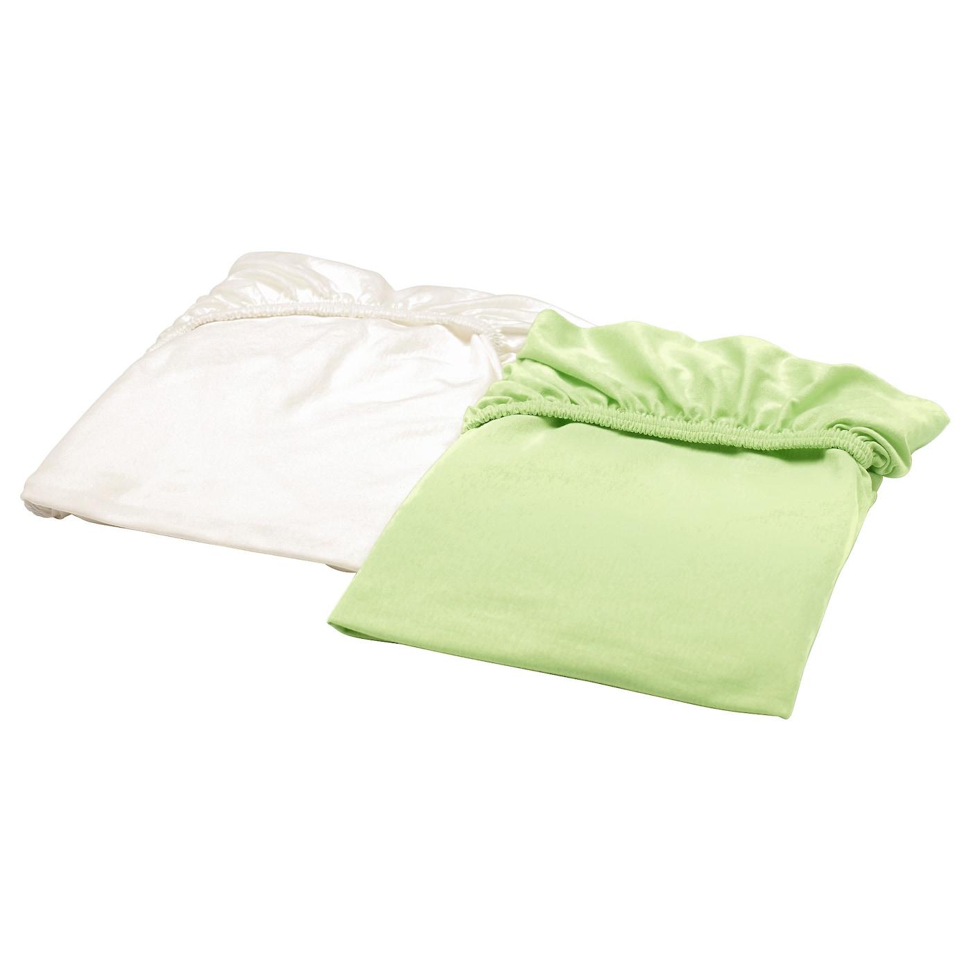 len drap housse pour lit b b blanc turquoise 60x120 cm ikea. Black Bedroom Furniture Sets. Home Design Ideas