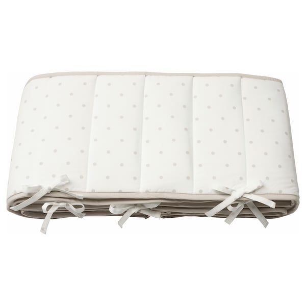 LENAST Tour de lit bébé, à pois/blanc gris, 60x120 cm