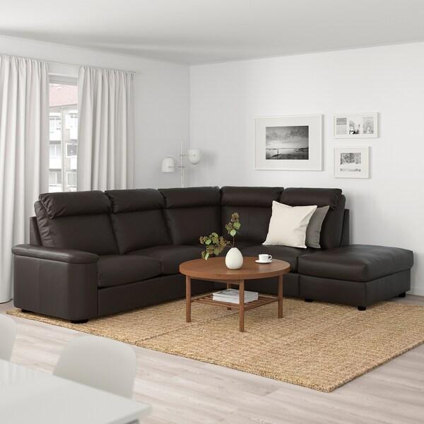 LIDHULT Canapé d'angle, 5 places, sans accoudoir/Grann/Bomstad brun foncé