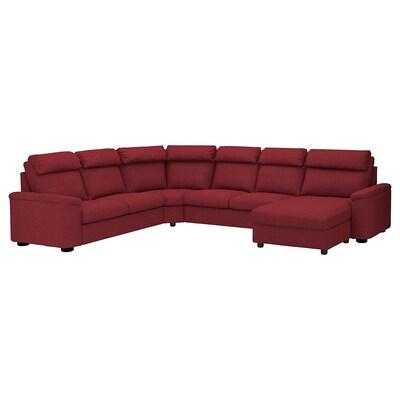 LIDHULT canapé d'angle, 6 places avec méridienne/Lejde brun-rouge 102 cm 76 cm 164 cm 98 cm 120 cm 367 cm 275 cm 7 cm 53 cm 45 cm