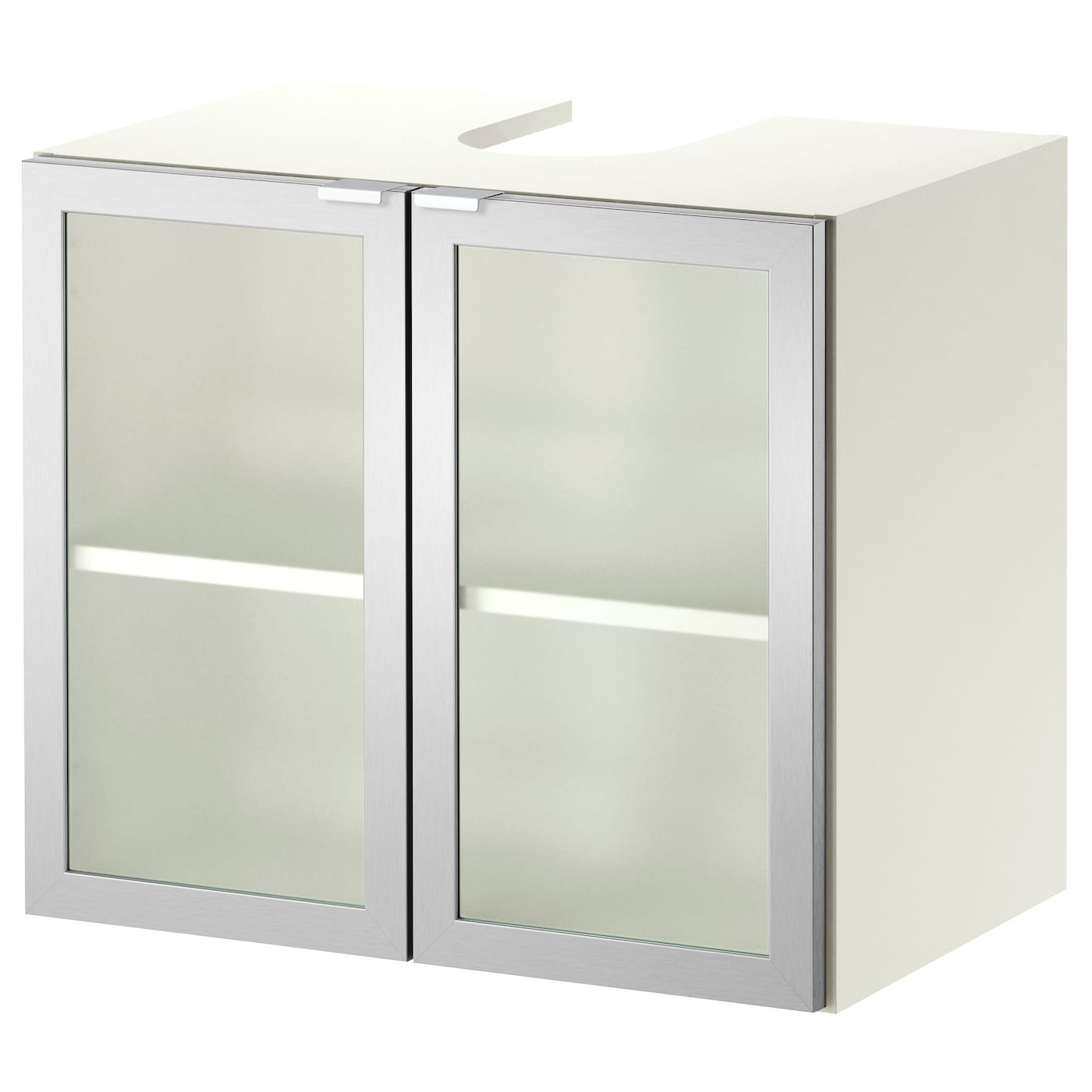 Lill Ngen L Ment Bas Lavabo 2 Portes Blanc Aluminium 60 X 38 X 51