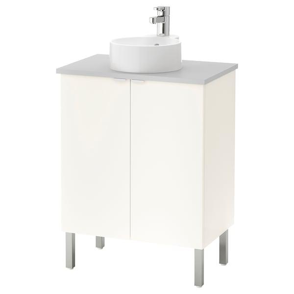 LILLÅNGEN/VISKAN / GUTVIKEN élément lavabo à 2 portes blanc/gris Ensen mitigeur lavabo 62 cm 40 cm 92 cm