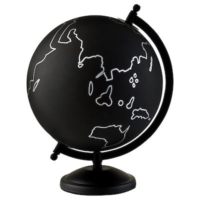 LINDRANDE Décoration, globe terrestre noir/gris, 28 cm
