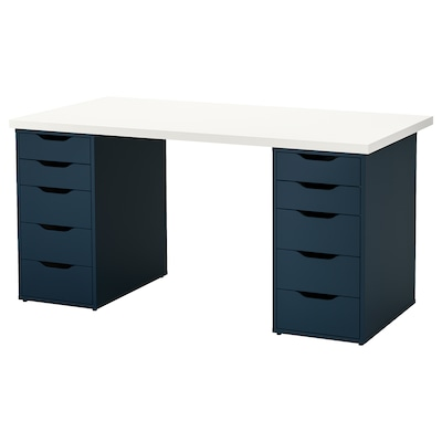 LINNMON / ALEX Table, blanc/bleu, 150x75 cm