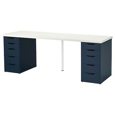 LINNMON / ALEX Table, blanc/bleu, 200x60 cm