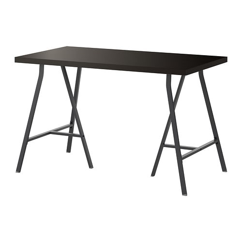 Linnmon lerberg table brun noir gris ikea - Ikea table noire ...