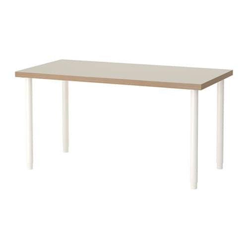 Linnmon olov table beige blanc ikea for Bureau noir et blanc ikea