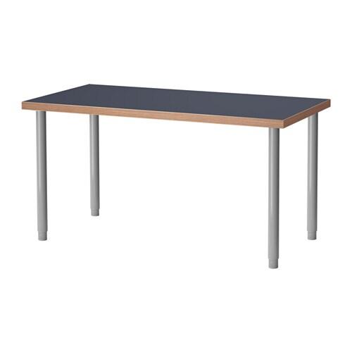 Linnmon olov table bleu couleur argent ikea for Table largeur 85 cm