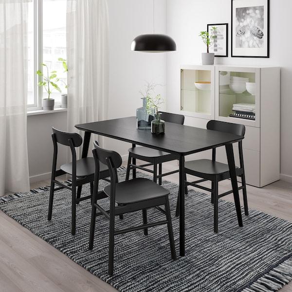 LISABO / RÖNNINGE Table et 4 chaises, noir/noir, 140x78 cm