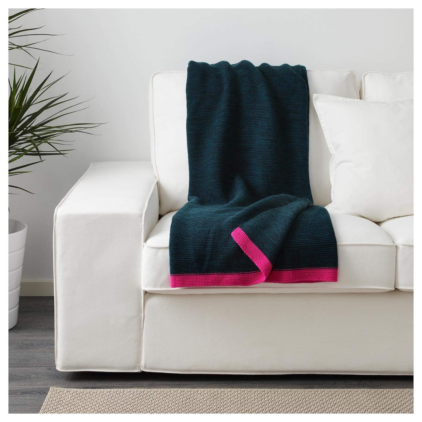 lisamari plaid bleu rose 130x170 cm ikea. Black Bedroom Furniture Sets. Home Design Ideas