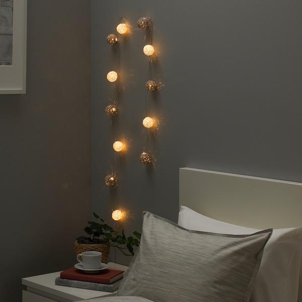 LIVSÅR Guirlande lumineuse à LED 12 amp, intérieur/à pile gris/blanc