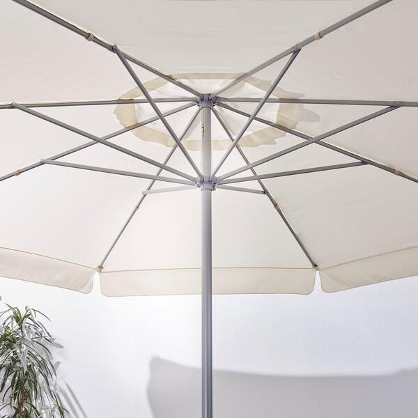 LJUSTERÖ parasol avec pied beige/Huvön gris foncé 314 cm 400 cm 48 mm