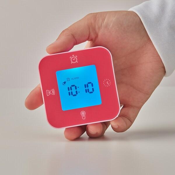 LÖTTORP Horloge/thermomètre/réveil/minuteur, rose