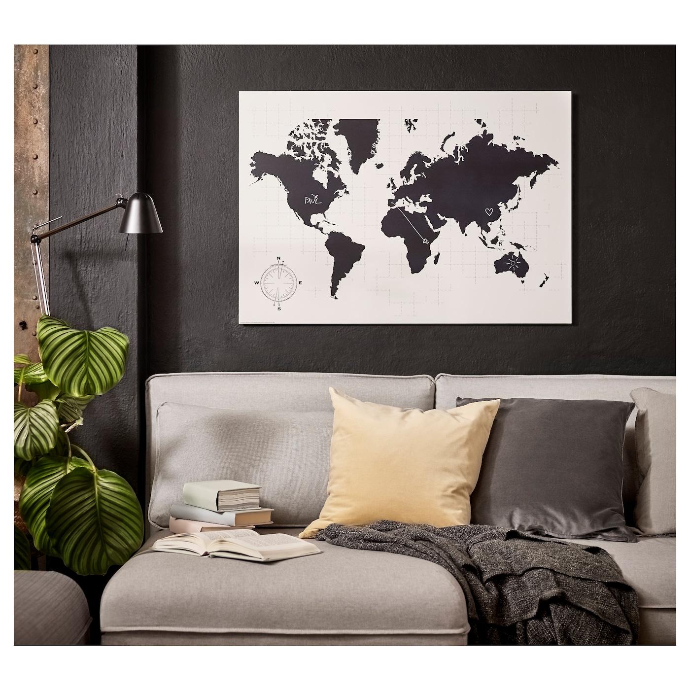 m lltorp tableau noir planificateur le monde est vous 95 x 67 cm ikea. Black Bedroom Furniture Sets. Home Design Ideas