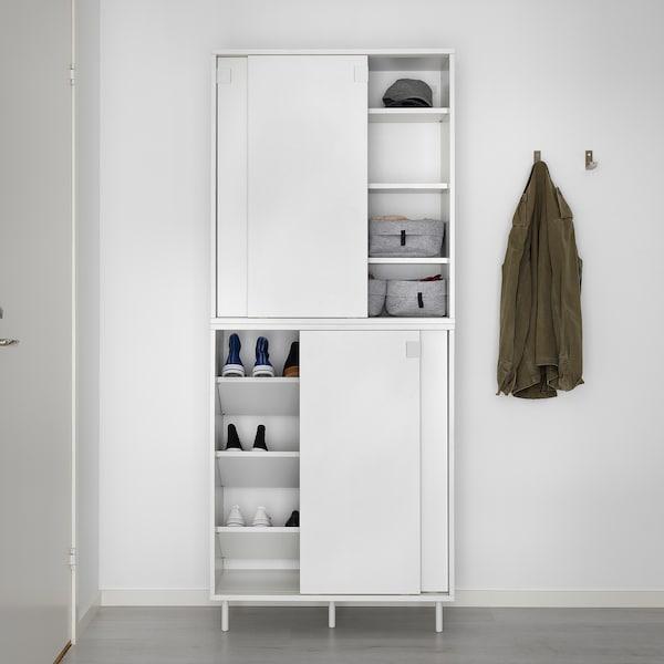 MACKAPÄR Armoire à chaussures/rangement, blanc, 80x35x102 cm