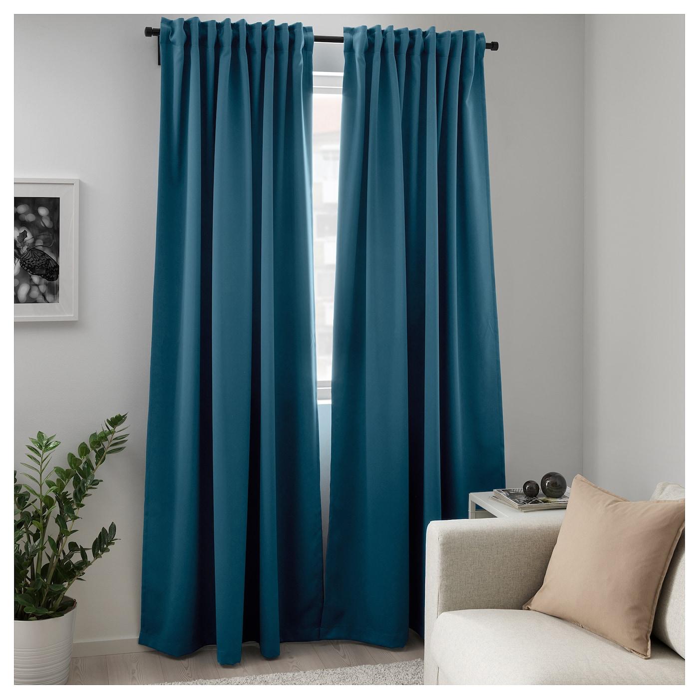 majgull rideaux occultant 1 paire bleu vert 145x300 cm ikea