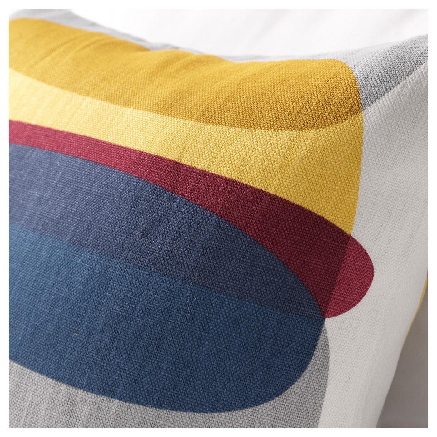 Malin figur housse de coussin bleu gris jaune 50 x 50 cm ikea - Coussin jaune et bleu ...
