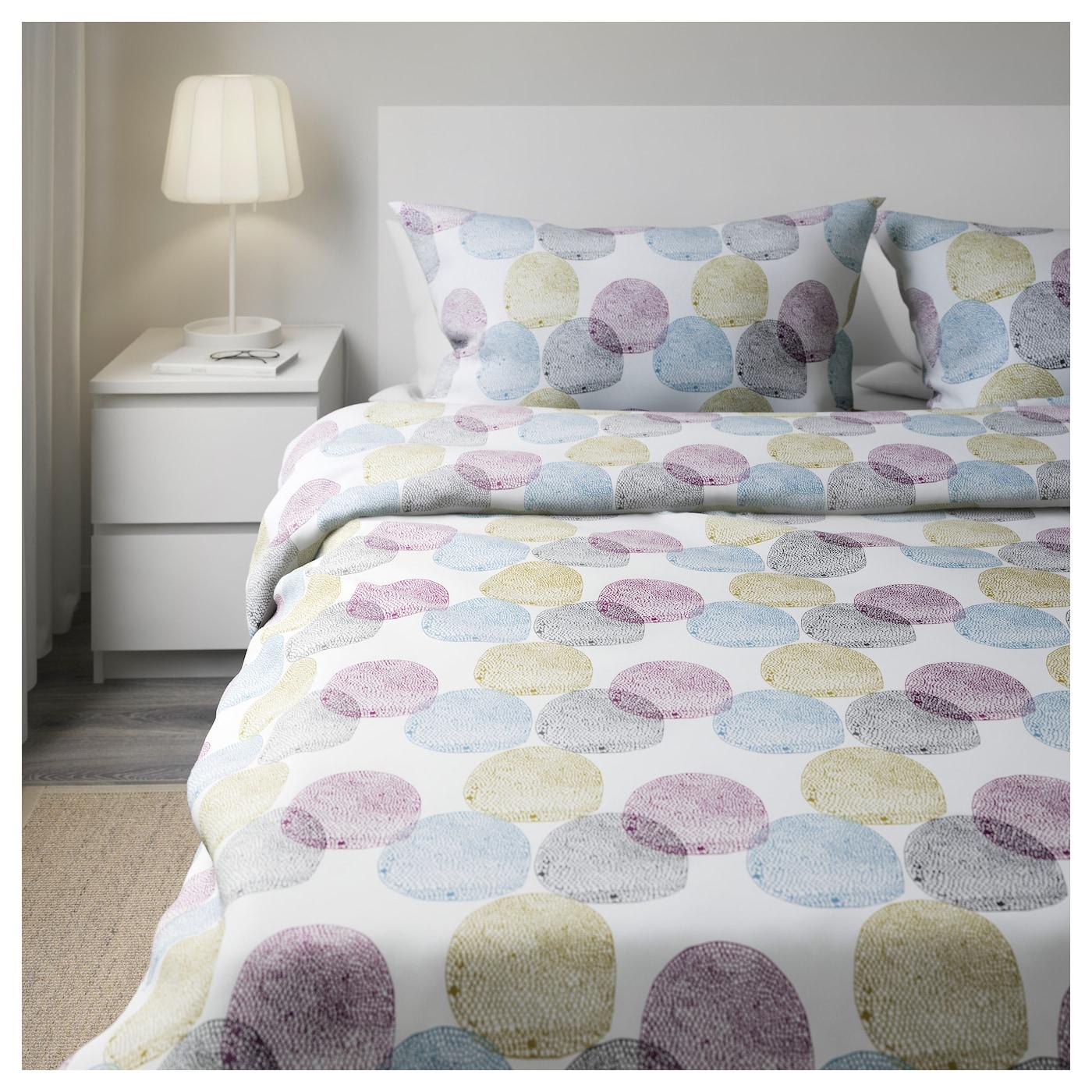 malin rund housse de couette et 2 taies multicolore 240x220 50x60 cm ikea. Black Bedroom Furniture Sets. Home Design Ideas