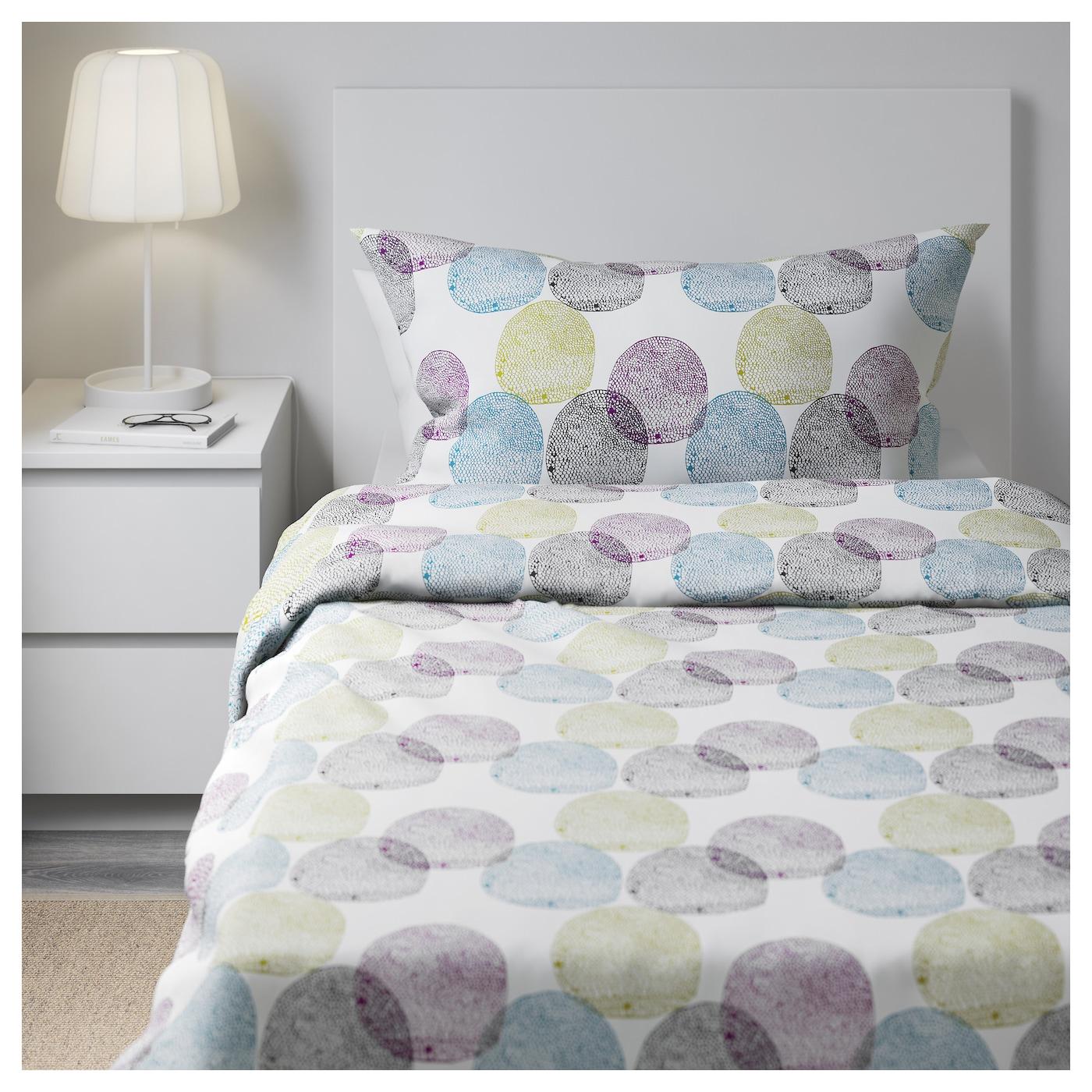 malin rund housse de couette et taie multicolore 150x200 50x60 cm ikea. Black Bedroom Furniture Sets. Home Design Ideas