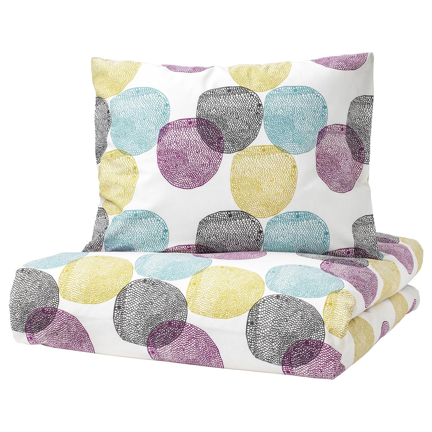 malin rund housse de couette et taie multicolore 150 x 200 50 x 60 cm ikea. Black Bedroom Furniture Sets. Home Design Ideas