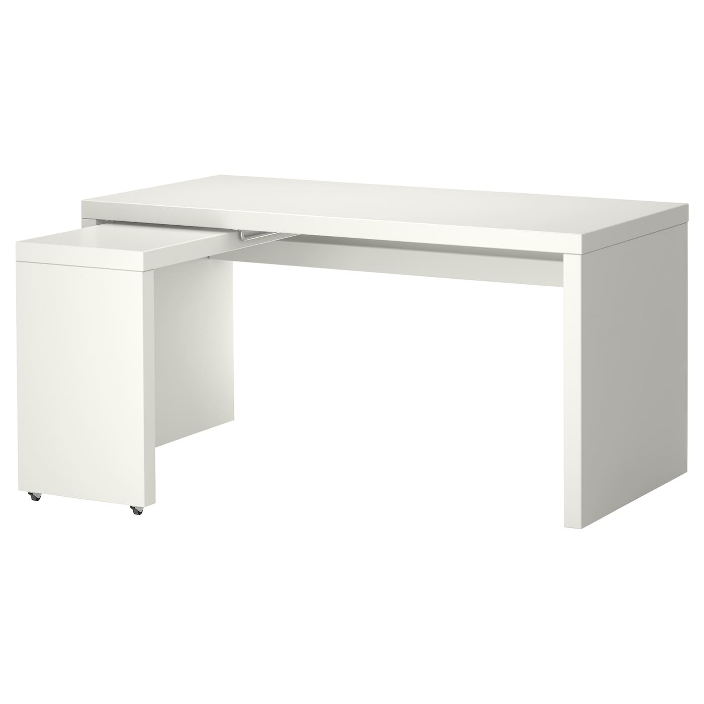 malm bureau avec tablette coulissante blanc 151 x 65 cm ikea. Black Bedroom Furniture Sets. Home Design Ideas