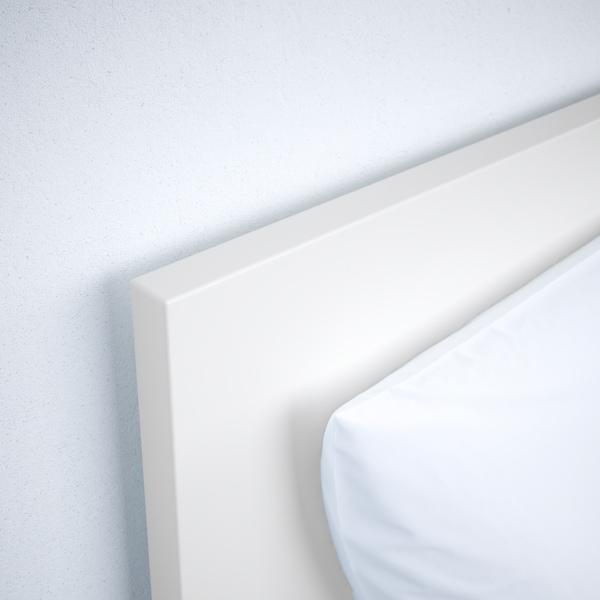 MALM Cadre de lit, haut, 2 rangements, blanc/Leirsund, 90x200 cm
