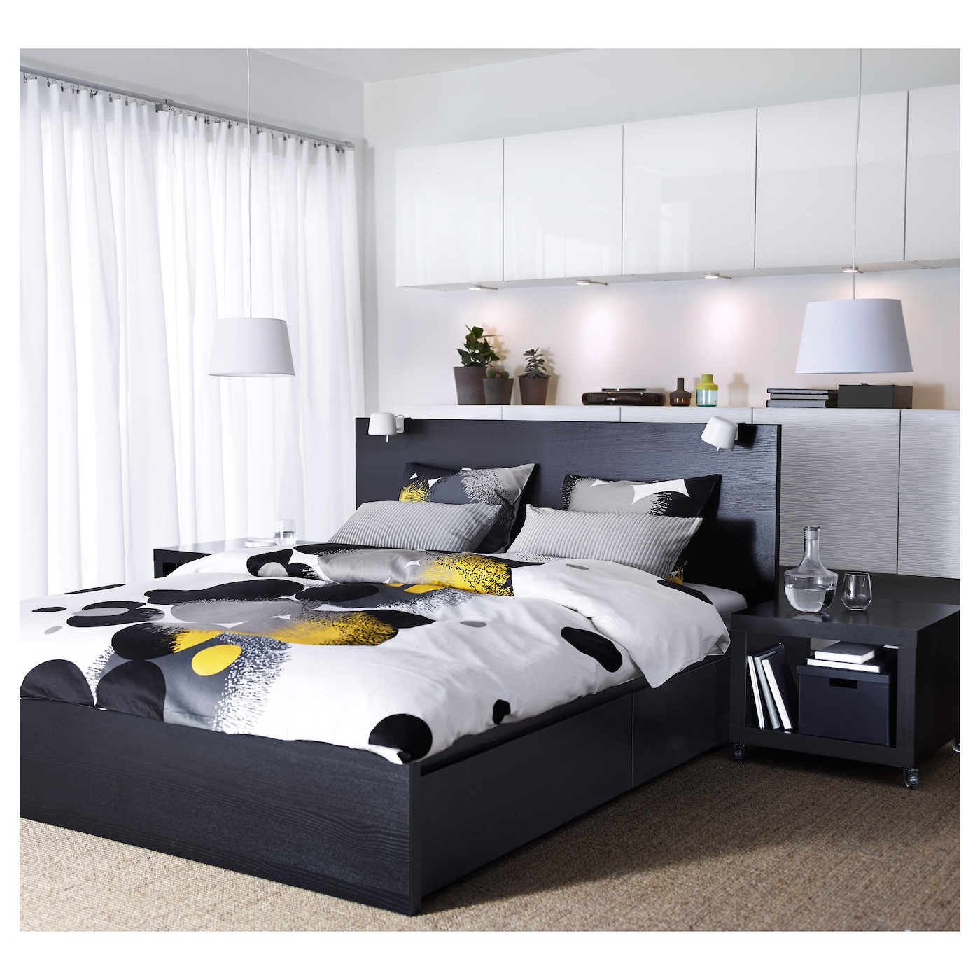 malm cadre de lit haut 2 rangements brun noir 180x200 cm ikea. Black Bedroom Furniture Sets. Home Design Ideas