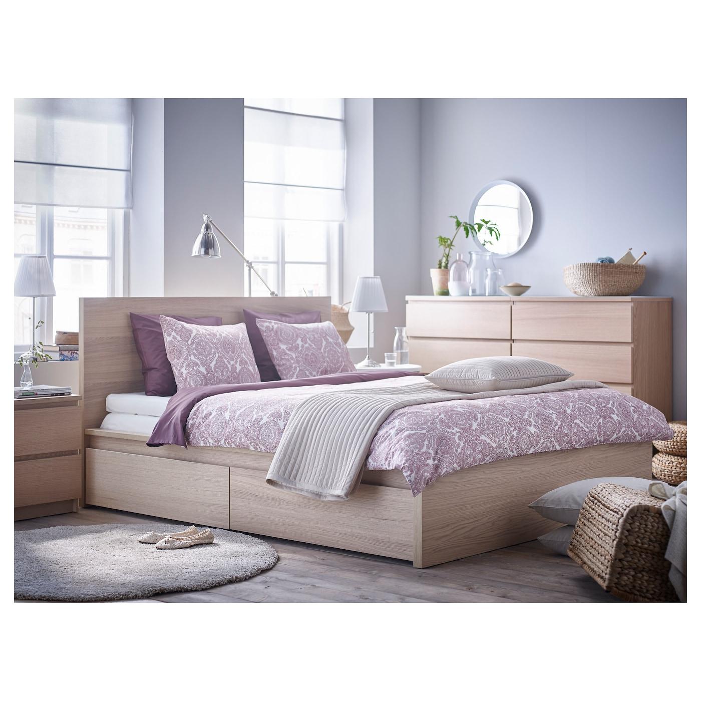 malm cadre de lit haut 2 rangements plaqu ch ne blanchi l nset 140 x 200 cm ikea. Black Bedroom Furniture Sets. Home Design Ideas