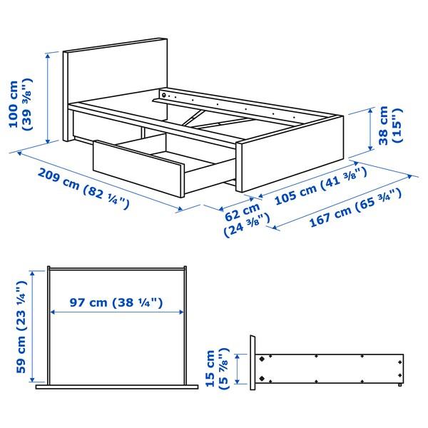 MALM Cadre de lit, haut, 2 rangements, plaqué chêne blanchi, 90x200 cm