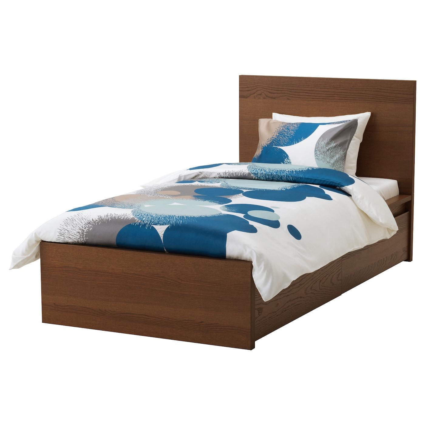 Malm cadre de lit haut 2 rangements teint brun plaqu for Ikea taille du cadre de lit
