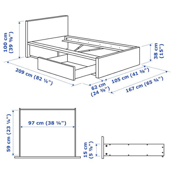 MALM Cadre de lit, haut, 2 rangements, teinté gris, 90x200 cm