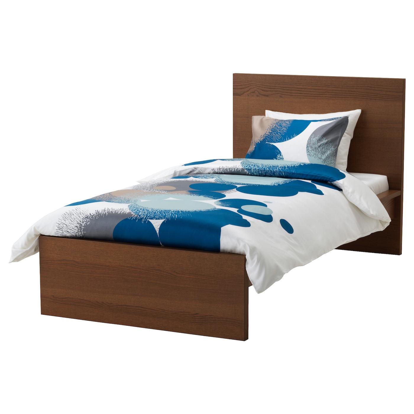 Malm cadre de lit haut teint brun plaqu fr ne l nset for Cadre en bois ikea sofa