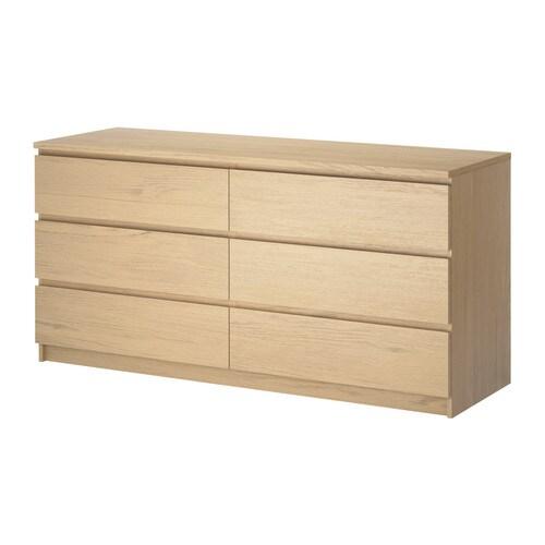 Malm commode 6 tiroirs plaqu ch ne blanchi ikea - Bureau chene blanchi ...