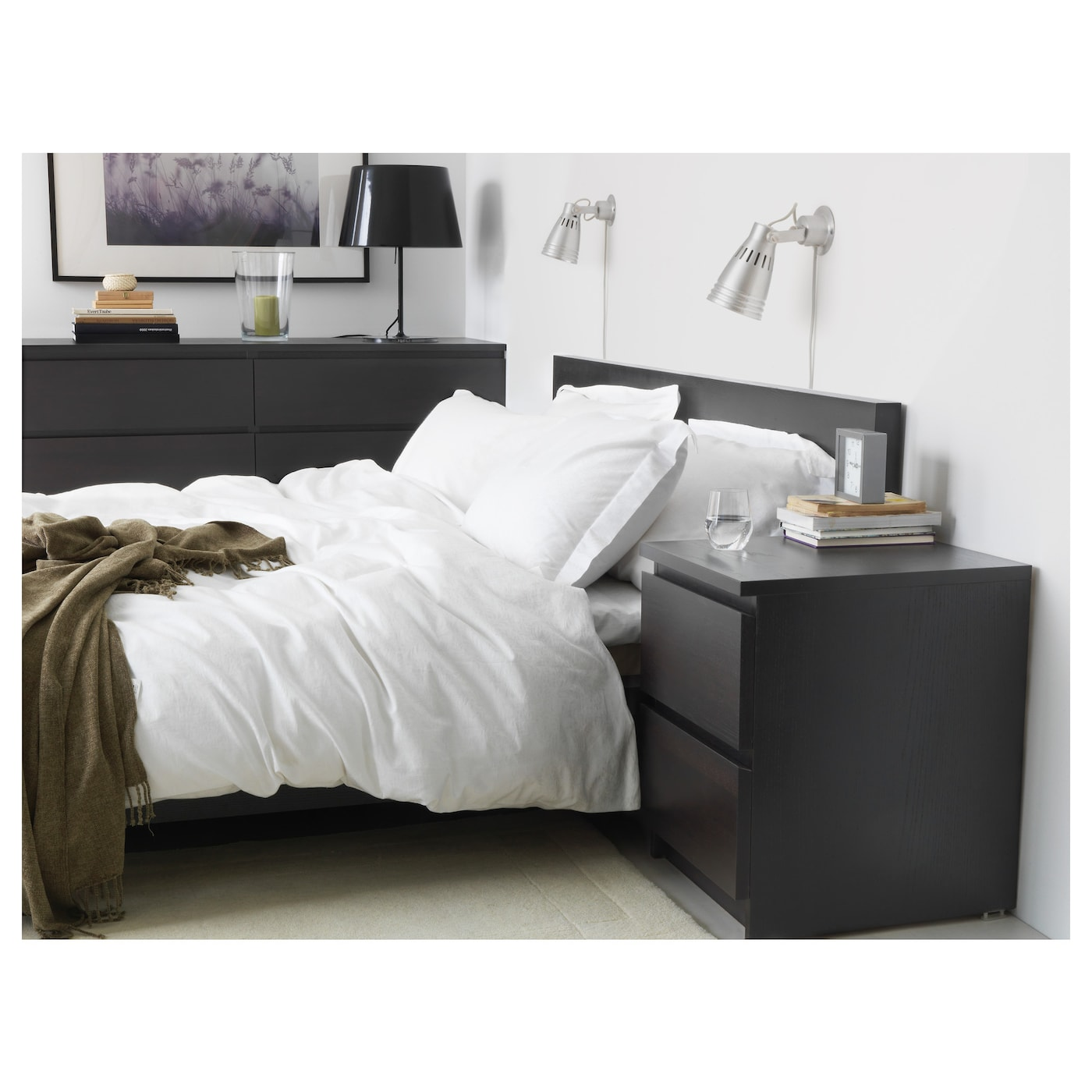 malm commode 2 tiroirs brun noir 40 x 55 cm ikea. Black Bedroom Furniture Sets. Home Design Ideas