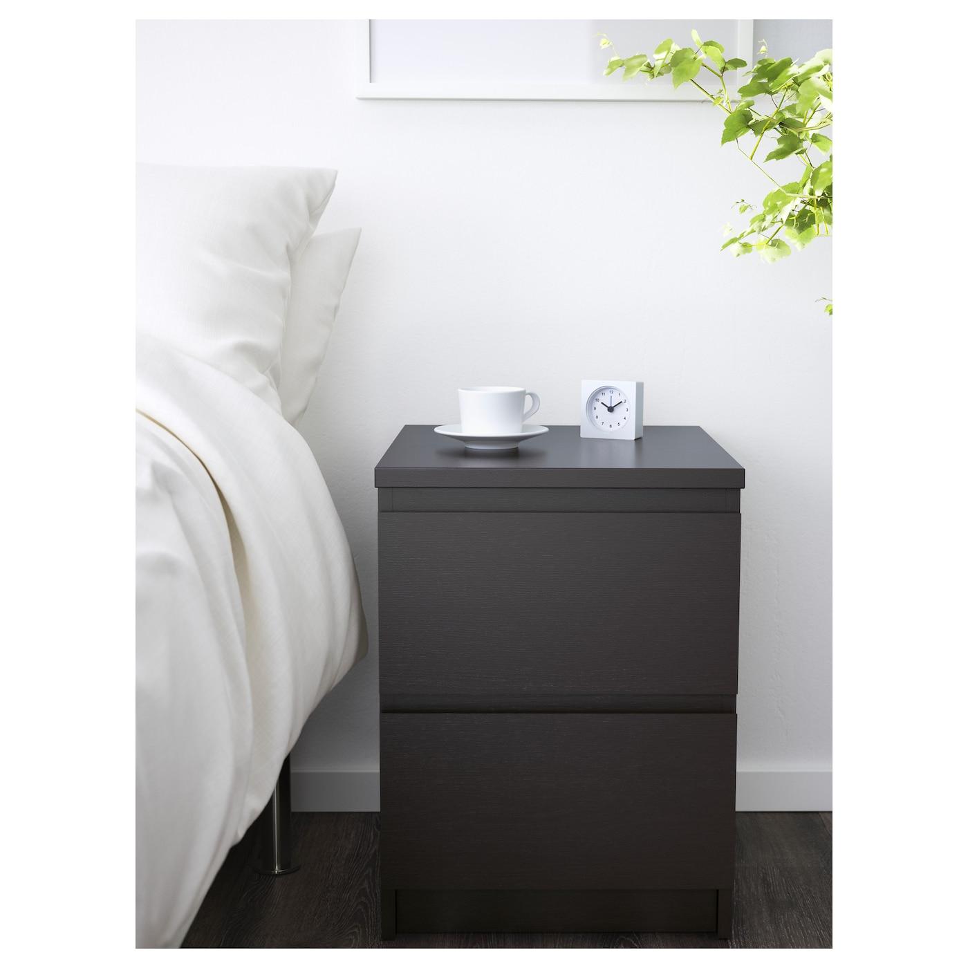 malm commode 2 tiroirs brun noir 40x55 cm ikea. Black Bedroom Furniture Sets. Home Design Ideas
