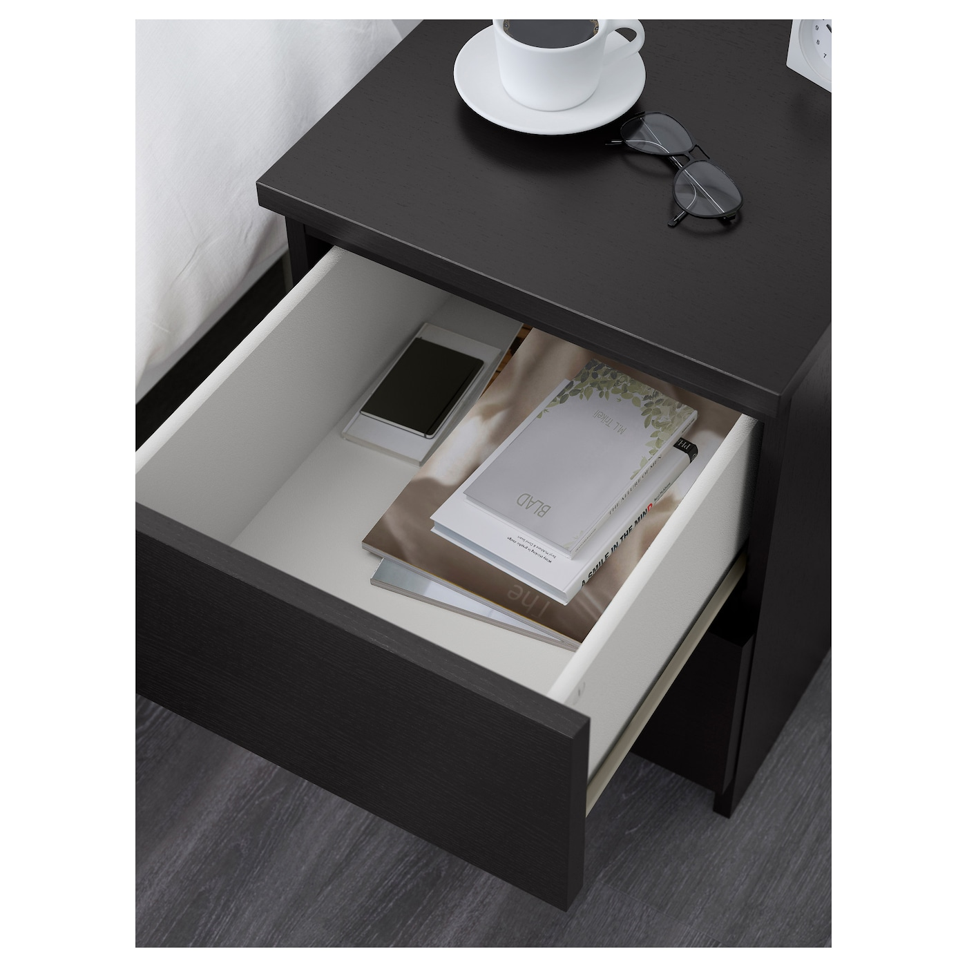 malm commode 2 tiroirs brun noir 40 x 55 cm ikea. Black Bedroom Furniture Sets. Home Design Ideas