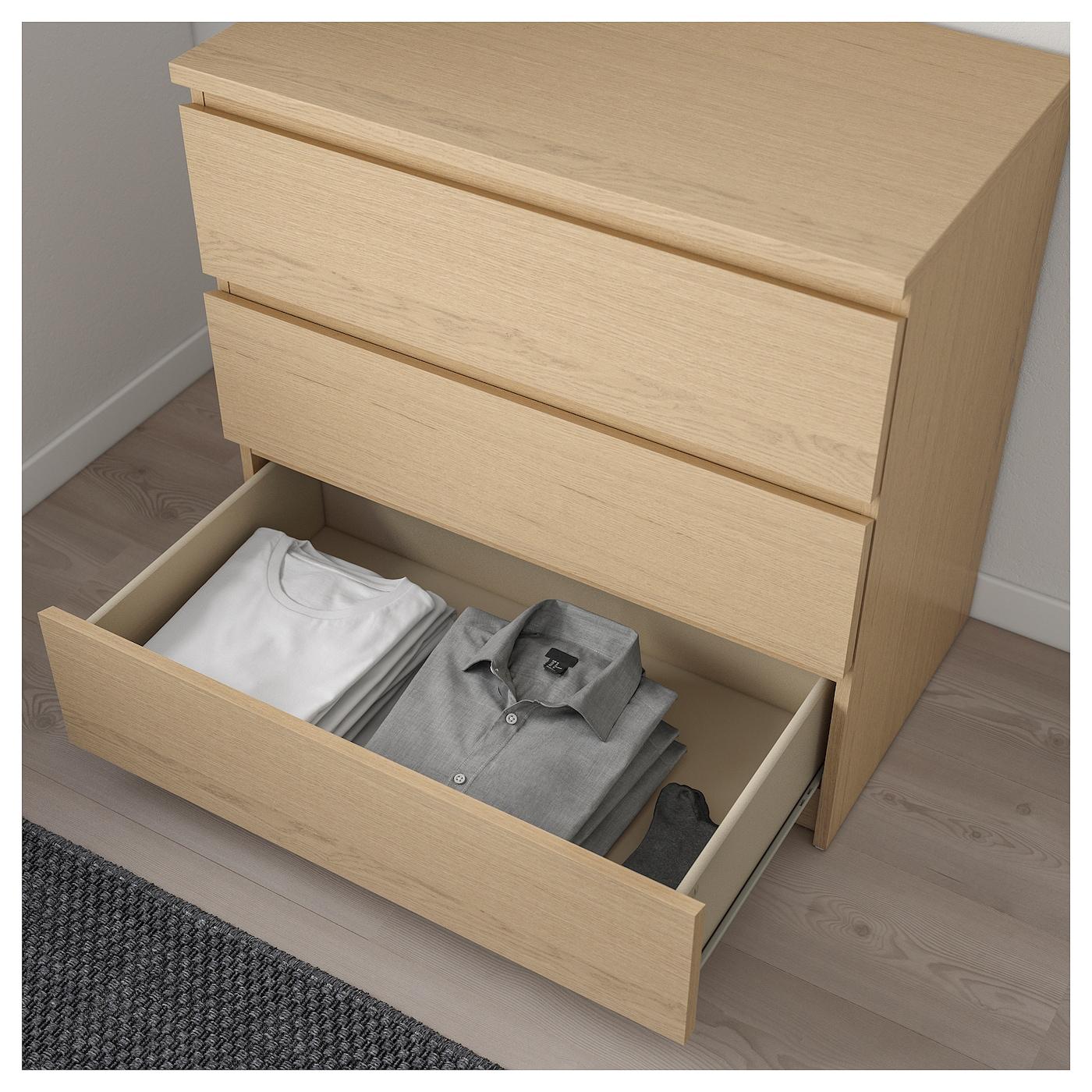 malm commode 3 tiroirs plaqu ch ne blanchi 80x78 cm ikea. Black Bedroom Furniture Sets. Home Design Ideas