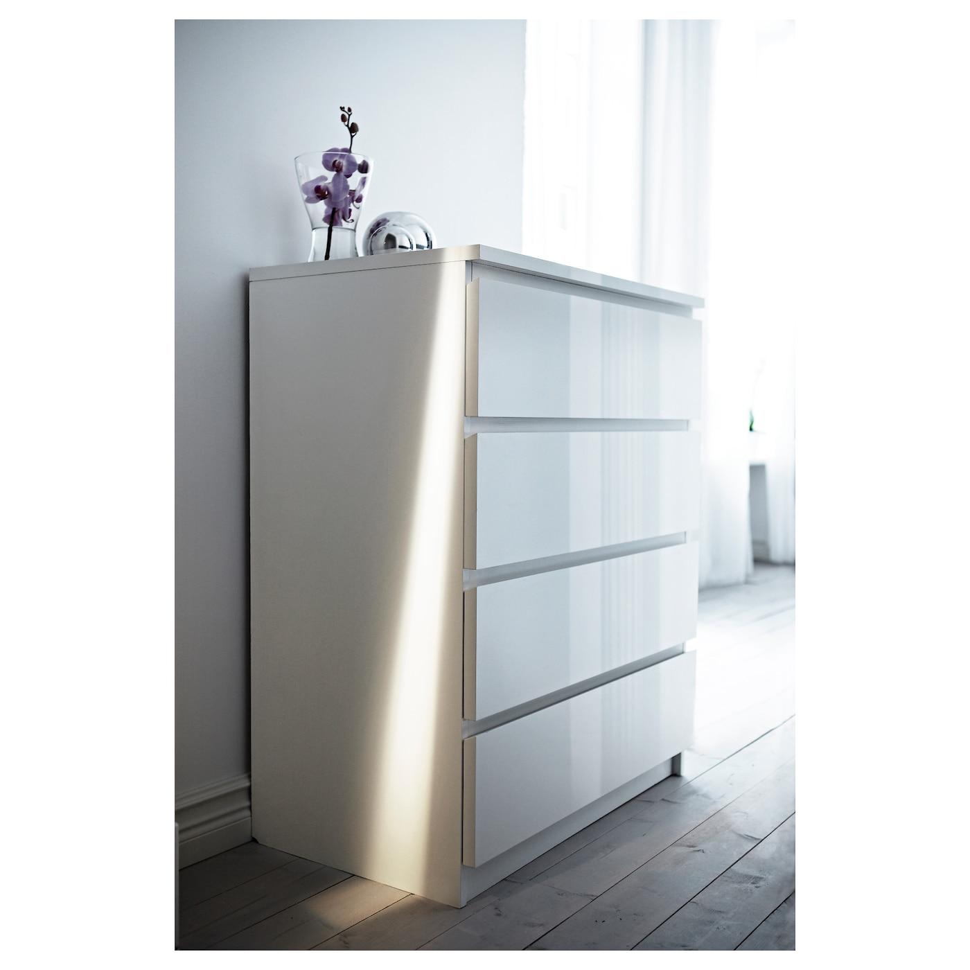 malm commode 4 tiroirs blanc/brillant 80 x 100 cm - ikea