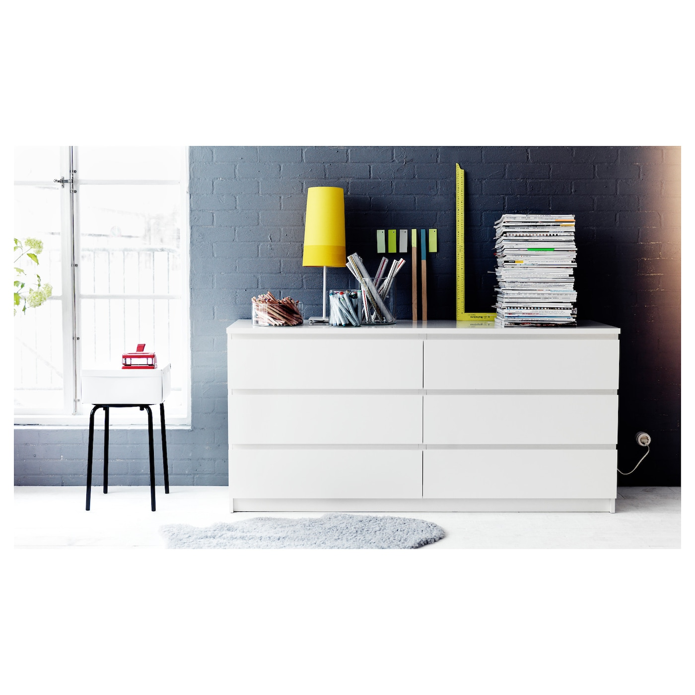 malm commode 6 tiroirs blanc 160x78 cm ikea. Black Bedroom Furniture Sets. Home Design Ideas