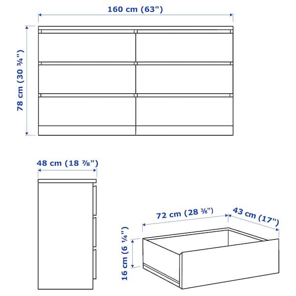 MALM Commode 6 tiroirs, plaqué chêne blanchi, 160x78 cm